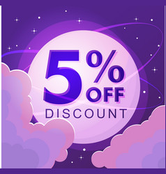 Five percent discount numbers against the night vector