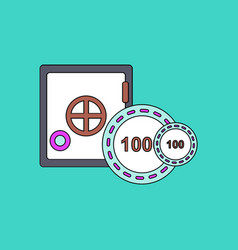Flat icon design collection safe and chips vector