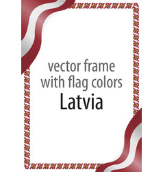 Frame and border of ribbon with the colors latvia vector