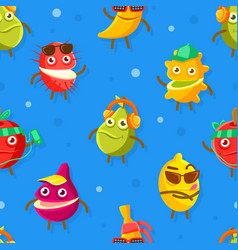 funny exotic fruits characters seamless pattern vector image