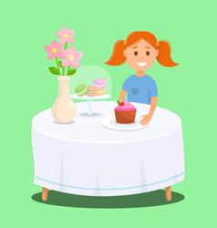 Girl sitting in backery shop with fruit cupcake vector