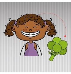 Girl vegetable food health vector