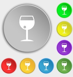 Glass of wine icon sign Symbol on five flat vector