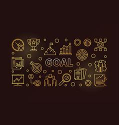 goal golden banner business outline vector image