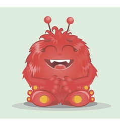 Good red furry monsters 2 vector image