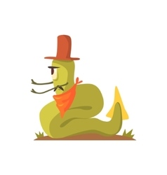 Green Giant Snake Monster In Cowboy Hat And vector