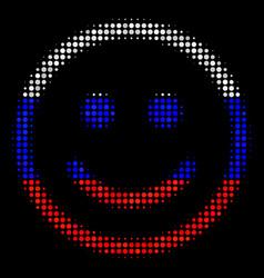 Halftone russian glad smiley icon vector