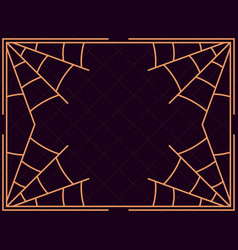 halloween frame with cobwebs holiday background vector image