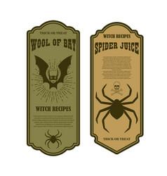 Halloween poison label wool bat spider juice vector