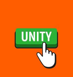 Hand mouse cursor clicks the unity button vector
