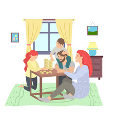 happy family sitting at table floor playing jenga vector image