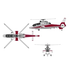 Helicopter in three views top view side front vector image
