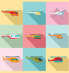 helicopter military aircraft icons set flat style vector image