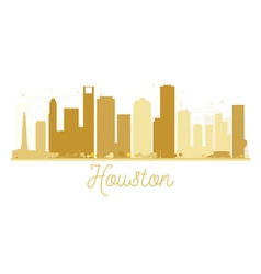 Houston City skyline golden silhouette vector image