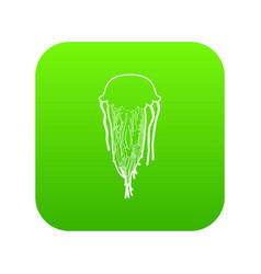 jellyfish icon green vector image