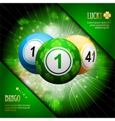 Lucky clover bingo ball explosion on green vector