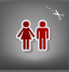 male and female sign red icon with for vector image