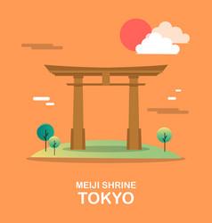 meiji shrine holy building in tokyo design vector image