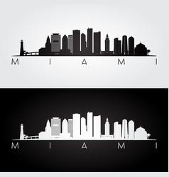 miami usa skyline and landmarks silhouette vector image