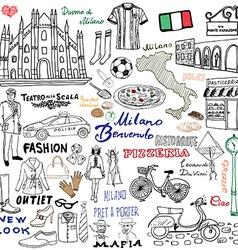 milan italy sketch elements hand drawn set vector image
