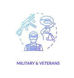 Military and veterans social service concept icon vector