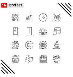 Modern set 16 outlines pictograph email vector