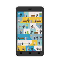 office in smartphone workplace in phone managers vector image