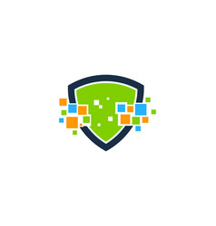 pixel shield logo icon design vector image