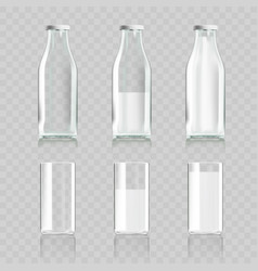 Realistic transparent clear glass and bottle of vector