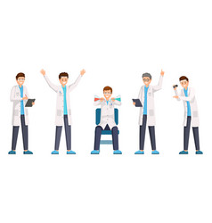 researches flat characters set happy vector image