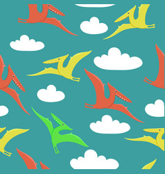 seamless pattern with pterodactyls flying vector image