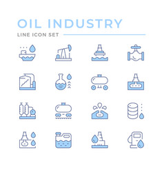set color line icons oil industry vector image