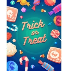 set colorful halloween sweets and candies icons vector image