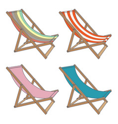 set deck chair different colors on a white vector image