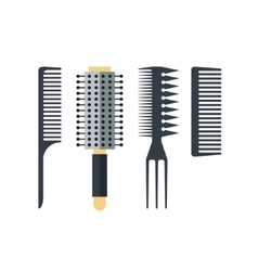 Set flat combs isolated on white background vector