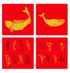 Set of wedding icons theme drawing fishes animals vector