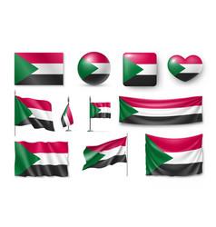 Set sudan flags banners banners symbols flat vector