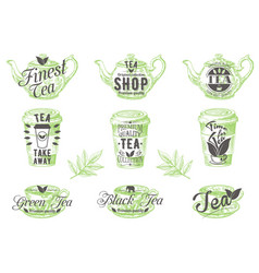 set vintage tea badges labels logos vector image