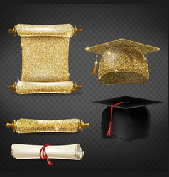 set with graduation caps and diplomas vector image