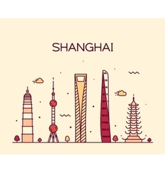 Shanghai City skyline silhouette line art vector