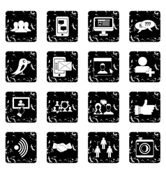 Social network icons set simple style vector