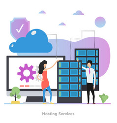 square concept hosting services in flat vector image