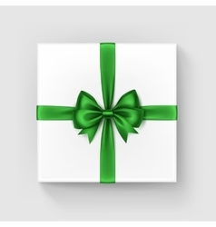 Square Gift Box with Shiny Green Bow and Ribbon vector