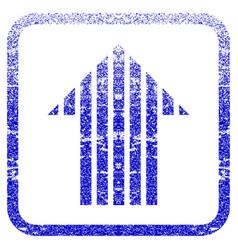 Stripe arrow up framed textured icon vector