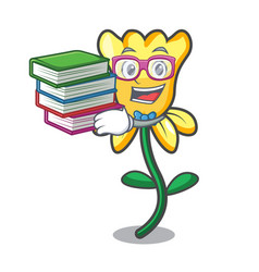 Student with book daffodil flower mascot cartoon vector