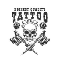tattoo studio emblem template crossed vector image