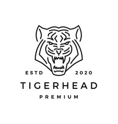 tiger head monoline logo icon vector image