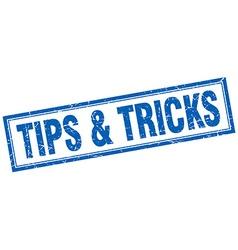Tips tricks blue square grunge stamp on white vector