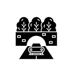 travelling by car black icon sign on vector image