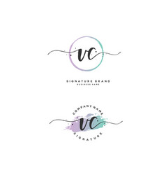 V c vc initial letter handwriting and signature vector
